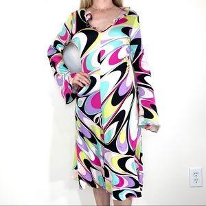 Emilio Pucci Firenze silk bell sleeve dress Sz 8